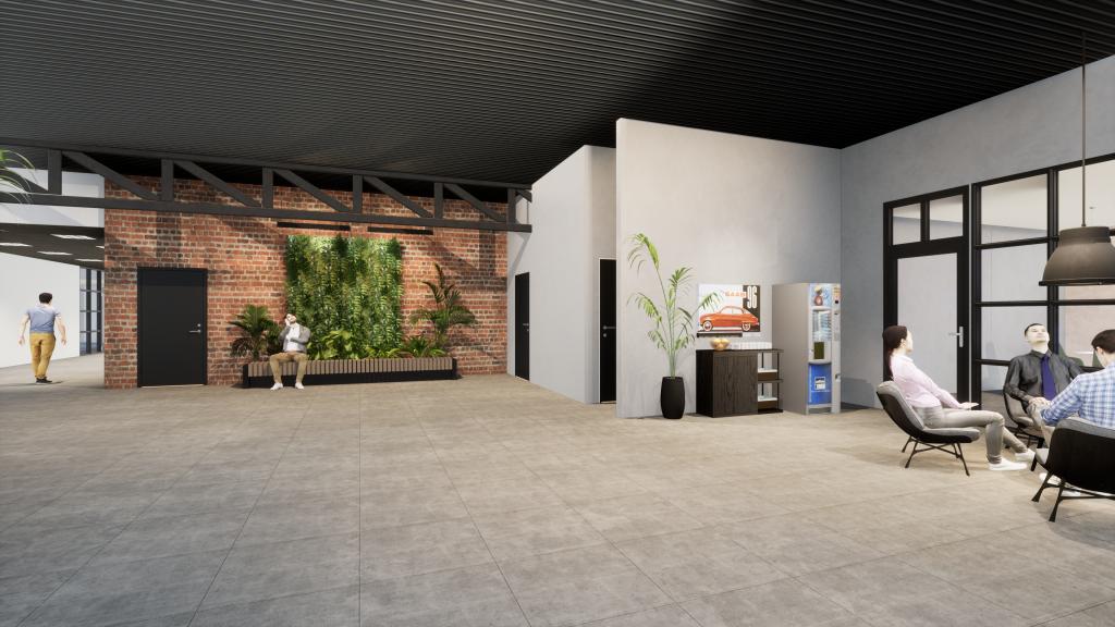Interiörbild från galleriagångens centrum med kaffehörna